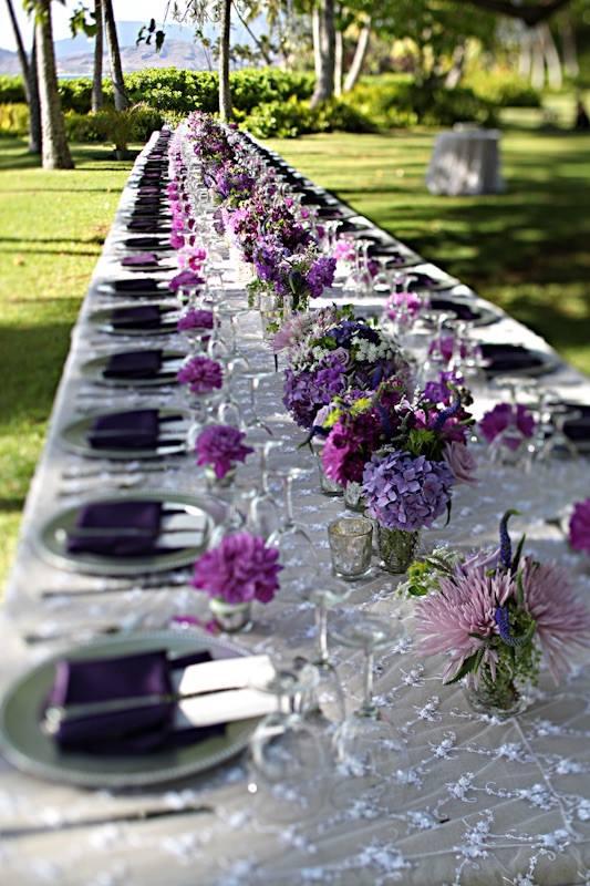 Décor table mariage violet