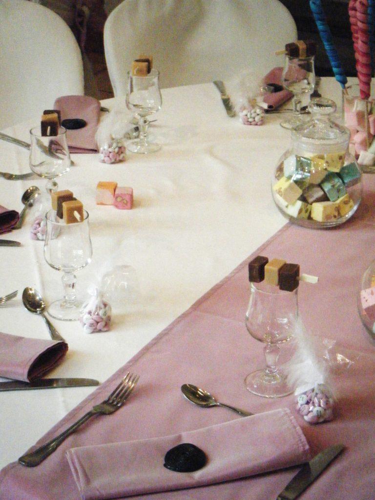 Décoration table enfants au château de la roche Courbon mariage