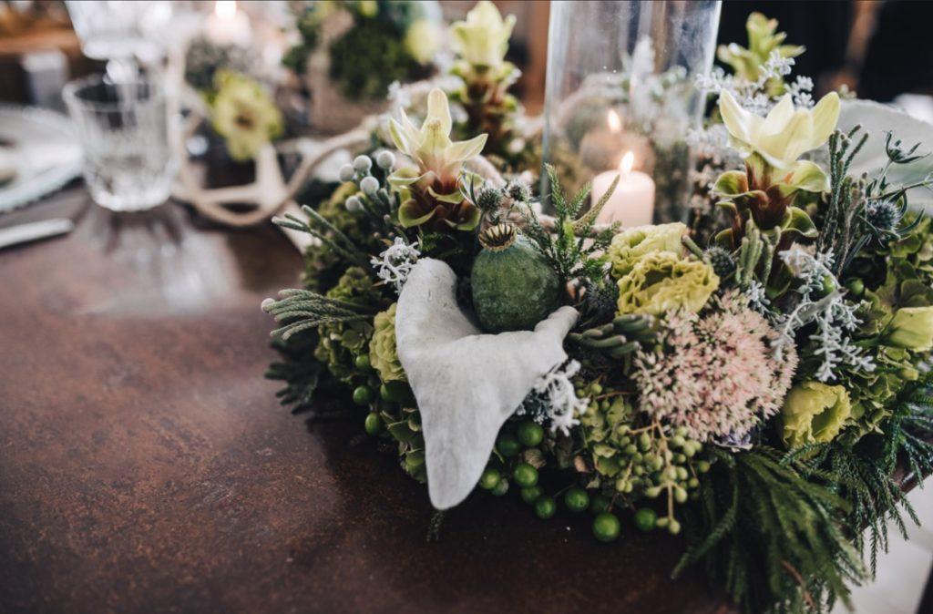 couronne fleurs photophore